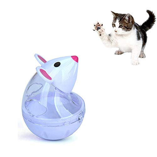 WXLAA Cat Treat Dispenser Ball Toy, Mice Shaped Tumbler Slow Feeder Food Ball Pet Interactive Treat Toy, White