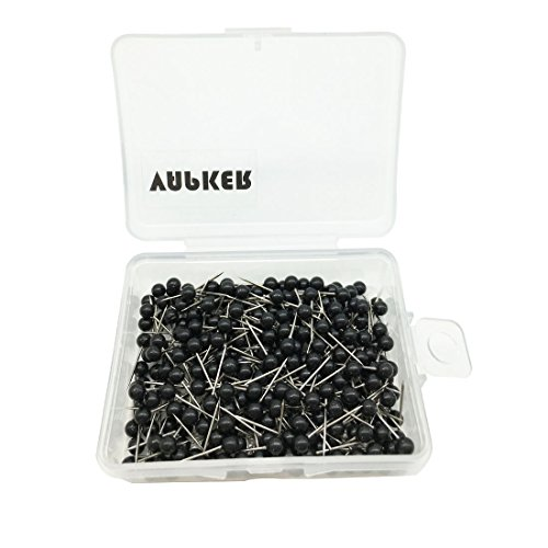 VAPKER 1/8 Inch Map Tacks Round Plastic Head Push pins with Stainless Point(Box of 300 black Color pins)