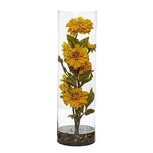 Nearly Natural 1783-YL Zinnia Artificial Cylinder Vase Silk Arrangements Yellow 33