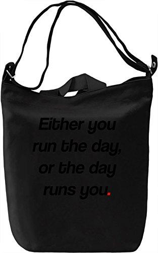 Run the Day Borsa Giornaliera Canvas Canvas Day Bag| 100% Premium Cotton Canvas| DTG Printing|