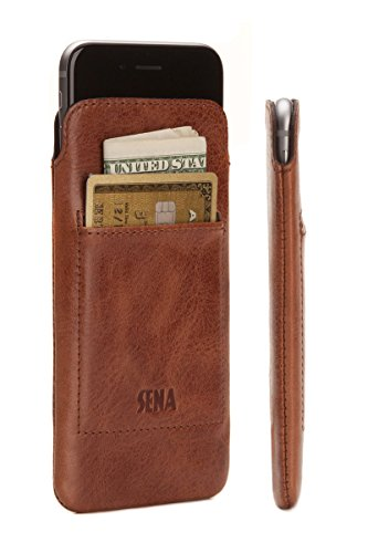 Sena UltraSlim Wallet, Thin leather sleeve pouch with card pocket for iPhone 7 - Cognac by Sena Cases