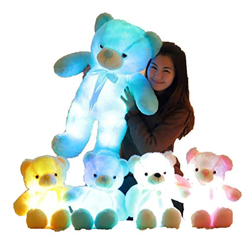 Pilot-Y 50CM Creative Light Up LED Inductive Teddy Bear Stuffed Animals Plush Toy Colorful Glowing Teddy Bear for -
