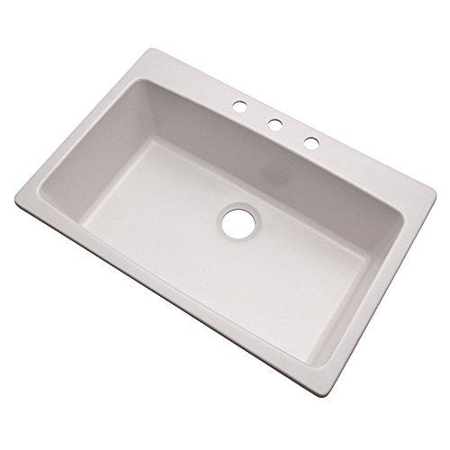 [Dekor Sinks 70300Q Northampton Composite Granite Single Bowl Kitchen Sink with Three Holes, 33