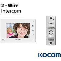 Kocom Kit: KC-MC11 Video Door Intercom Camera & KCV-D372-W 7 Monitor 2 Wire System, Pinhole Lens, White LED At Night, Surface/Corner Mount