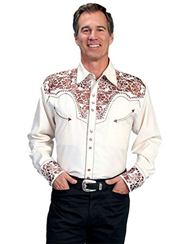 Scully Men's Embroidered Gunfighter Shirt Natural Large ()