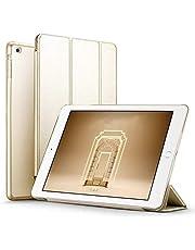 جراب iPad 9.7 2018/2017، جراب ذكي خفيف الوزن مزود بوظيفة السكون/التنبيه التلقائي، بطانة من الألياف الدقيقة، غطاء خلفي صلب لجهاز Apple iPad 9.7 iPad الجيل الخامس / السادس - ذهبي
