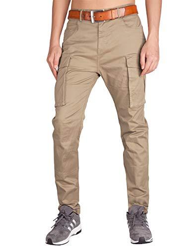 ITALY MORN Men's Chino Cargo Casual Pants 36 Khaki