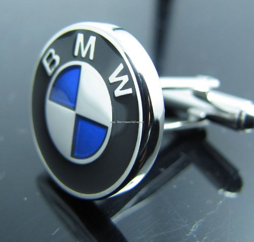 SILVER BMW POLISHED PLATINUM - RHODIUM 1 PAIR SILVER GIFT CUFF LINKS - from Hibiscus Express (Square Cufflinks Rhodium)