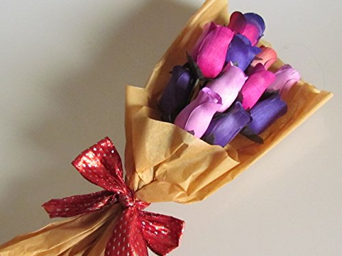 Scented Purple Forever Roses Bouquet With A Refresher Spray In A Box - Moonlight Tuberose Fragrance 13 Rose Buds US Handmade