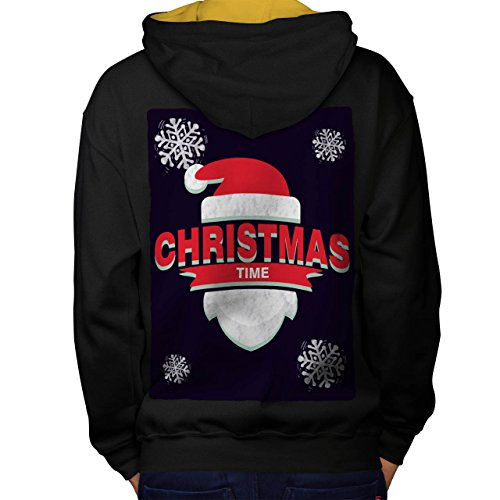 Mistle Toe Hat (Time Santa Hat Christmas Men M Contrast Hoodie Back | Wellcoda)