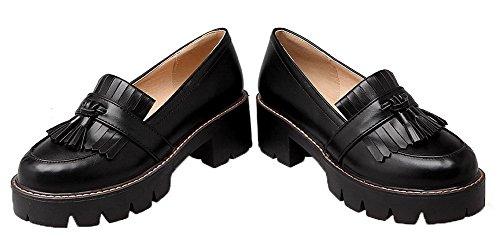 Allhqfashion Dames Pu Ronde Neus Kitten-hakken Pull-on Omzoomde Pumps-schoenen Zwart