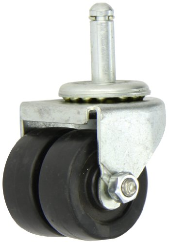 Shepherd-00-Series-2-Diameter-Polyolefin-Dual-Wheel-Swivel-Caster-716-Diameter-x-1-716-Length-Grip-Ring-Stem-225-lbs-Capacity-Zinc-Finish
