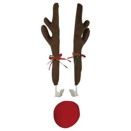 Costume Kit Car (Festive Christmas Car Reindeer Antlers Decoration Kit with Plush Red)