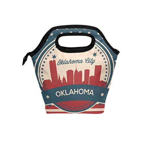 - Oklahoma City Retro Skyline Reusable Insulated Lunch Bag Durability Zip Closure Tote School Travel Picnic Handbag Cooler Warm Lunchbox for Women Girls Kids Men Office Worker
