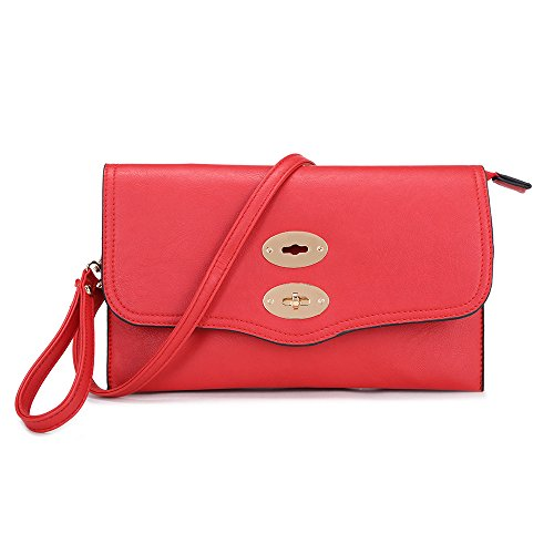 Wrislets Clutch Envelope Long Strap Sling Messenger LS Adjustable and Wrist Wallet Red Bag with Detachable Shouler Medium Purse Bags Strap SxggwtF