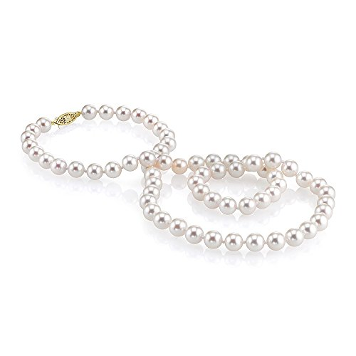 THE PEARL SOURCE 14K Gold 8-9mm AAAA Quality White Freshwater Cultured Pearl Necklace for Women in 24