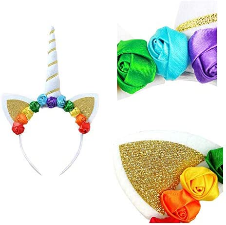 Phantomon Layered Tulle Girls Tutu Skirt Set Unicorn Rainbow Ballet Skirts with Unicorn Horn Headband Party Supplies