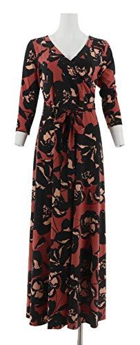 Du Jour Printed Faux Wrap Knit Maxi Dress Marsala S New A295386 from Du Jour