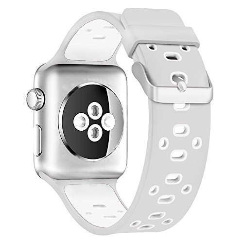 Sport Band for Apple Watch 38mm, Alritz Soft Silicone Replacement Strap Wristband with Ventilation Holes and Stainless Steel Buckle for iWatch Series 2, Series 1,Nike+, Platinum White
