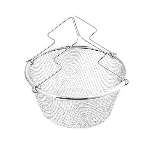 AOLVO Fry Skimmer Strainer, Fry Mesh Strainer, Frying Baskets for Deep Fryers, Stainless Steel Frying Basket for Straining, Sieving, Filtering, Rinsing, Steaming and Cooking Tasks -