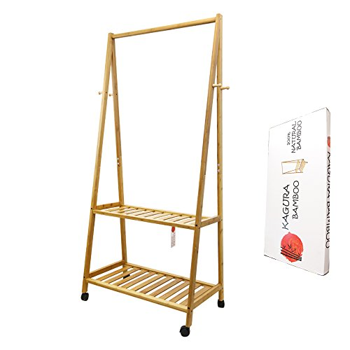 Kagura Bamboo Standing Clothes Organizer Garment Shelves | Hanging Coat Hat Stand and Shoes Storage Organizer | 2 Tier Cloths Rack Space Saving Eco-friendly natural-bamboo - Easy Assemble by KAGURA BAMBOO