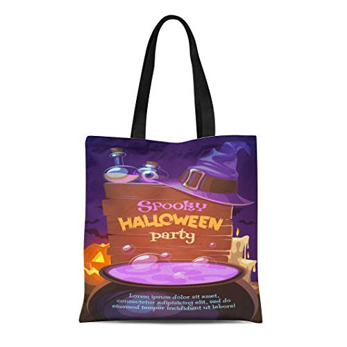 Semtomn Canvas Tote Bag Shoulder Bags Boiling Black Autumn Witch Crafting Pot Halloween Bat Book Women's Handle Shoulder Tote Shopper Handbag ()