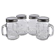 Mason Jar Mugs with Lids 16 oz Pack of 4