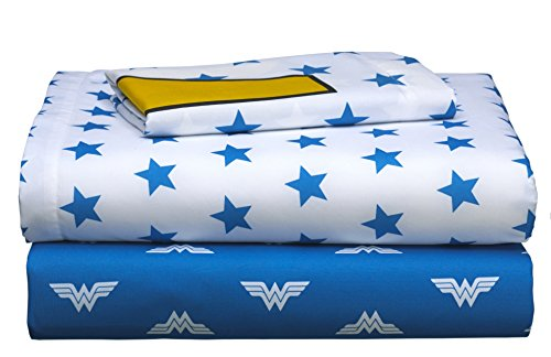 3 Piece Girls Cobalt Blue Wonder Woman Sheet Twin Set, White Color Comics Movie Characters Pattern Dc Comic Reversible Kids Bedding, Luxurious Traditional Fun Adventure Superhero Themed Teen Polyester by MISC