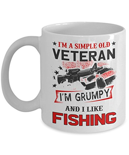 Kiwi Styles Veteran Coffee Ceramic Mug Cup - I'm A Simple Old Veteran. I'm Grumpy And I Like Fishing | Best Veteran's Day, Father's Day Gift For Man, Grandpa, Dad - 11 Oz, White