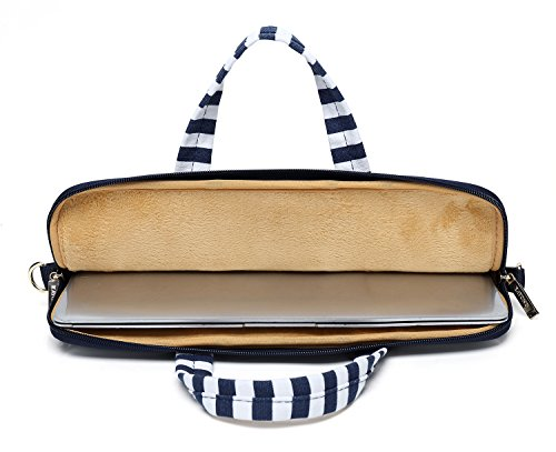 Kayond Canvas Fabric Ultraportable Neoprene Laptop Carrying Case/Shoulder Messenger Bag/Daily Briefcase Work/School/Travel(15-15.6, Breton Stripe) by kayond (Image #4)