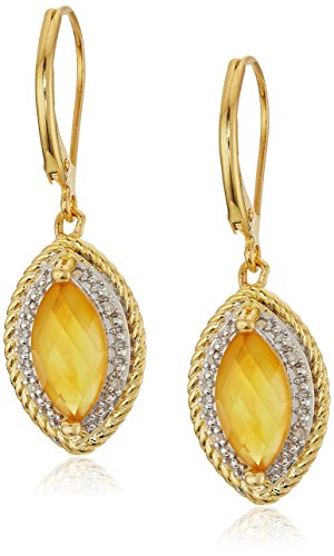 Yellow Gold Plated Sterling Silver Marquise Rope Light Citrine Doublet and Diamond Accent Drop Earrings