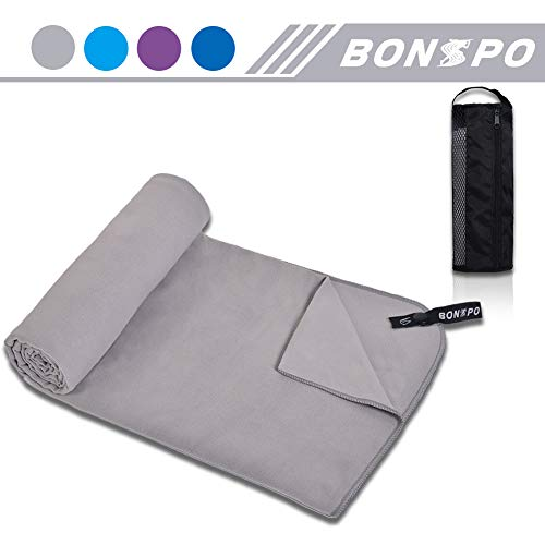 BONSPO Microfiber Towel Quick Dry Beach Camping Gym Travel Towel, Super Absorbent and Ultra Soft, Light Weight, Exquisite Package, Ideal for Swimming, Backpacking and Workout