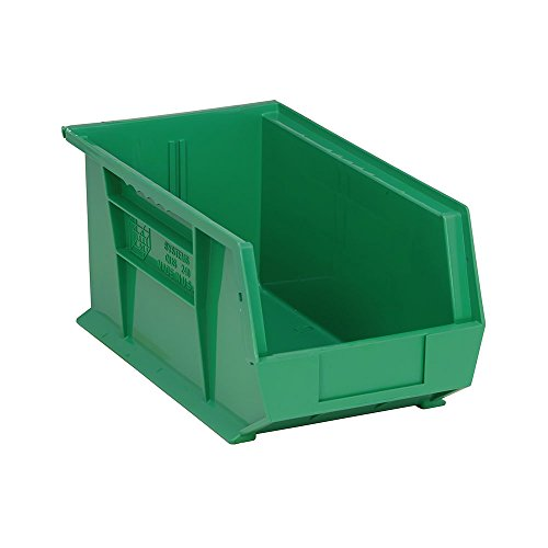 (Quantum QUS240 Plastic Storage Stacking Ultra Bin, 14-Inch by 8-Inch by 7-Inch, Green, Case of 12)