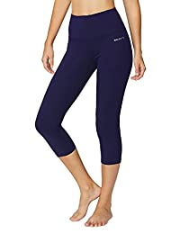 Baleaf Women's High Waist Yoga Capri Leggings Tummy Control Non See-through Fabric