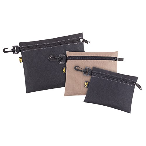 CLC Custom Leathercraft 1100 Multi-Purpose Clip-on Zippered Poly Bags, 3 Pack (Clip Bag)