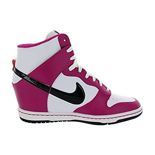Nike Dunk Sky HI Women Sneaker Wedge Bright MagentaWhiteBlack 528899-502
