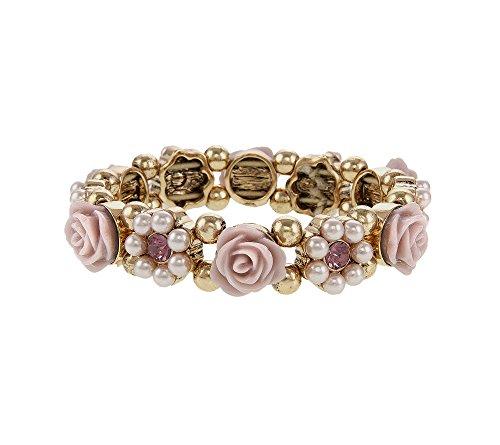 Erica Lyons Pink Goldtone Stretch Flower Bracelet