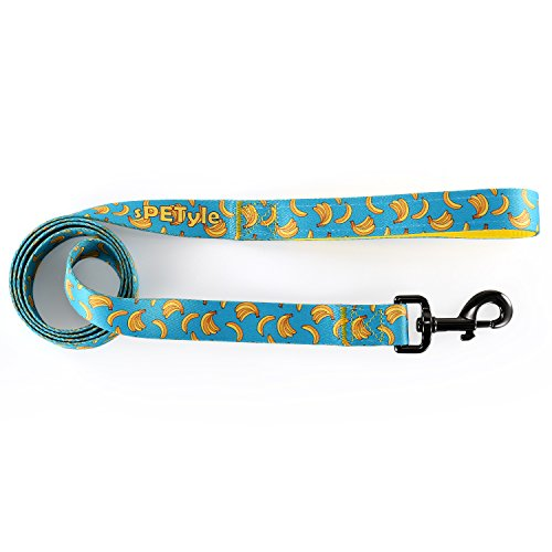 sPETyle Dog Basic Polyester Leash with Pattern for Cats, Small, Medium and Large Dogs (Banana,S-leash)