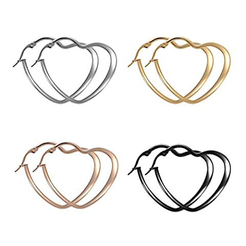 Paxuan Mens Womens 4 Pairs Surgical Stainless Steel Hypoallergenic Heart Love Hoop Earrings Set 40MM (4pcs Set)