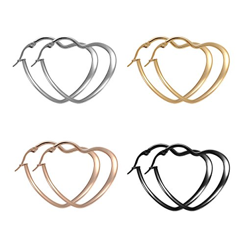 Paxuan Mens Womens 4 Pairs Surgical Stainless Steel Hypoallergenic Heart Love Hoop Earrings Set 30MM (4pcs Set)