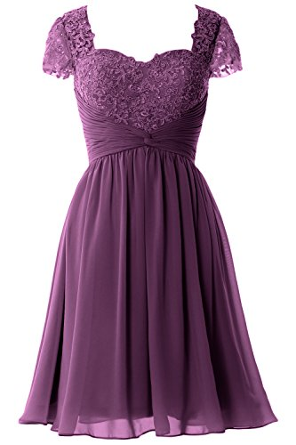 Party Formal Gown Lace Eggplant Cap Sleeve Bride Women Dress Short Mother of MACloth wqHg6tcW