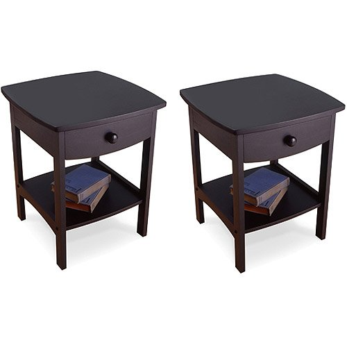 Set of 2 Nightstand End Table with Drawer