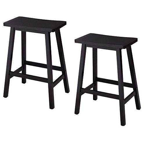 Set of 2 Bar Stools Kitchen Dining Room Saddle Seat Wooden Pub Chair 24 Inch