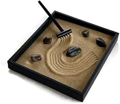 MyGift Mini Desktop Zen Sand Garden with Lion Figurine Rocks /& Faux Grass Tower Statues
