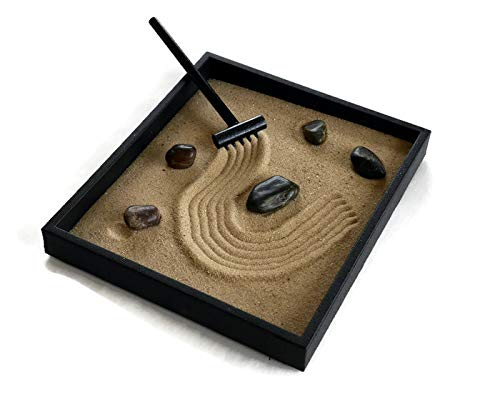 Zen Garden Handmade Kit Black Indoor Zen Garden Relaxation Gift
