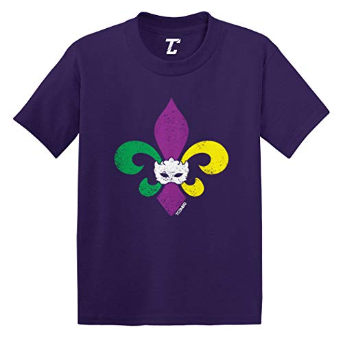 Fleur De Lis - Mardi Gras Mask Infant/Toddler Cotton Jersey T-Shirt (Purple, 5T)