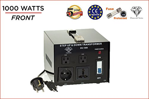 Dynastar Step Up & Step Down Voltage Converter and Transformer, 110-220 to 220-240 Volts; Heavy Duty, Extra Durable Lifetime Coil, 5-Year-Warranty, 1000 Watts