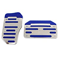 Aluminum Non-Slip Car Pedal Sports Automatic Cover Blue 2 Pcs Set