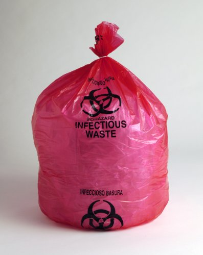 24'' X 30'' 13 Microns 15 Gallon Infectious Waste Biohazard Trash Bags (500 Bags) - Elkay Plastics HD15RE by Miller Supply Inc