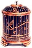 """Simple Beautiful Fine Quality Wedding Anniversary Gift Idea - 14"""" Burnt Bamboo Hand Painted Black Lacquered Sewing Box"""